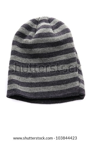 Wool knitted winter hat on white background