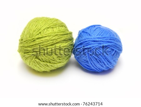 wool knitting isolated on white background