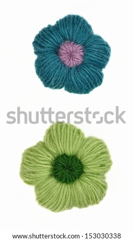 wool made flower isolated at white background  - stock photo