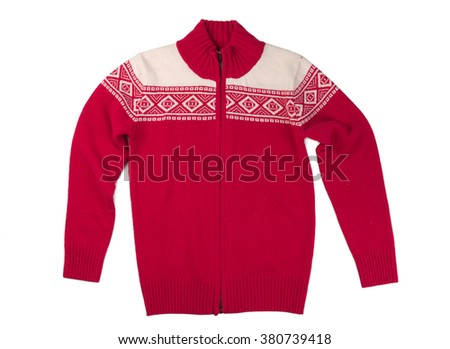 Wool red sweater. Isolate on white background. - stock photo
