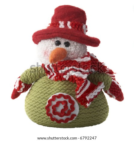 wool snowman isolated on white.