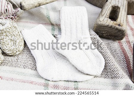 Wool socks and slippers in the market, sell and crafts