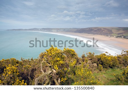 Woolacombe bay and beach Devon England from the South West Coast Path
