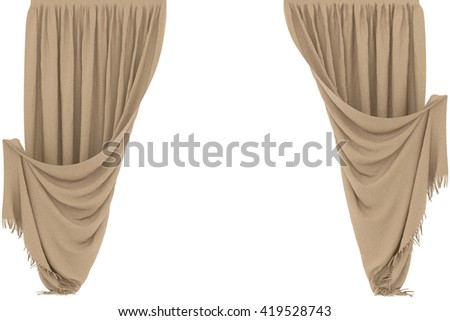 Woolen curtain. Isolated on white background. Include clipping path. 3D illustration