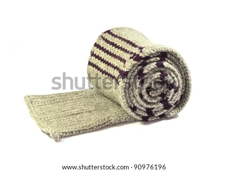 woolen grey scarf - stock photo