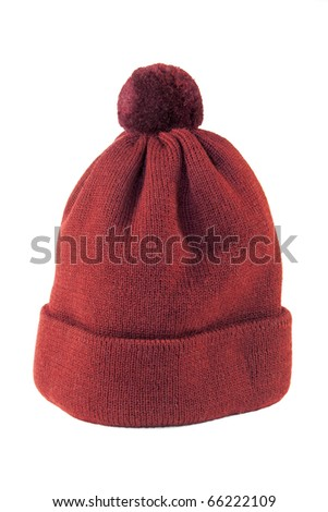 Woolen knitted cap in red on a white background