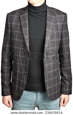 woolen suit jacket into the cell  in combination with jeans, Tri-Color Blanket Plaid Suit Jacket, isolated image on white background. mens blazer checkered, mens blazer, blazer checkered