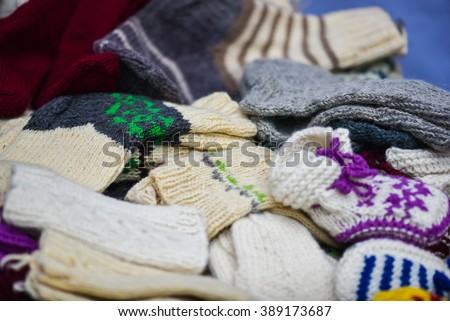 Woollen sox in the famous handicraft mart Kaziukas in Vilnius, Lithuania