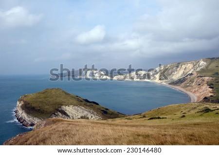 Worbarrow Tout on Dorset Coastal path  - stock photo
