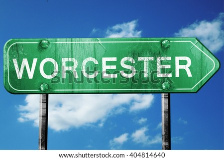 worcester road sign , worn and damaged look