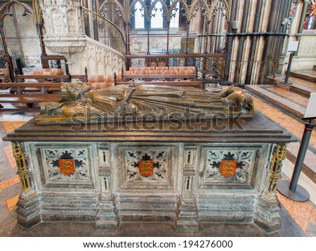 WORCESTER,UK-APRIL 10 2014 : Tomb of King John of England.Buried in Worcester Cathedral.King John signed the Magna Carta - stock photo