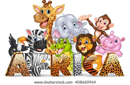 Word Africa with cute wild animal - stock photo