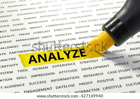 Word Analyze highlighted with marker on paper of other related words.business success concept.