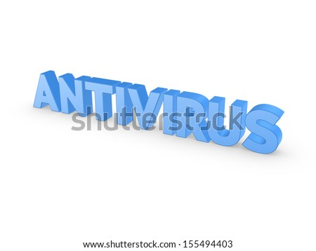Word ANTIVIRUS.Isolated on white.3d rendered.