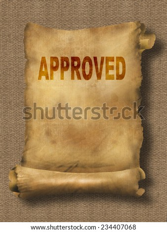 word approved on paper scroll made in 2d software