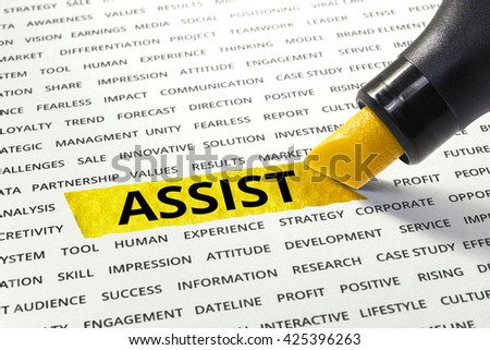 Word Assist highlighted with marker on paper of other related words.business success concept.