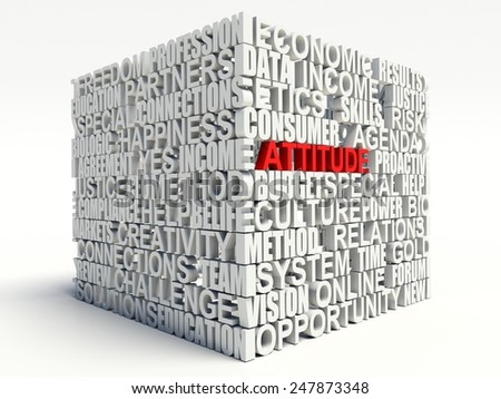 Word Attitude in red, salient among other related keywords concept in white. 3d render illustration. - stock photo