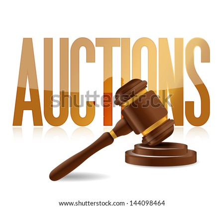word auction and wooden gavel illustration design - stock photo