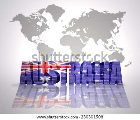 Word Australia with Australian  Flag on a world map background - stock photo