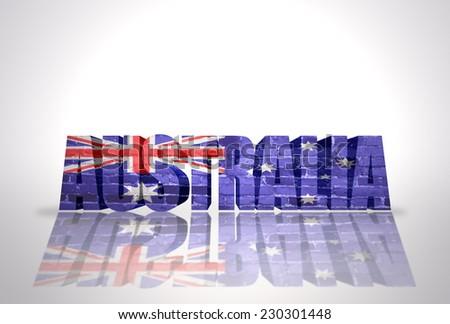 Word Australia with National Flag on the white background - stock photo