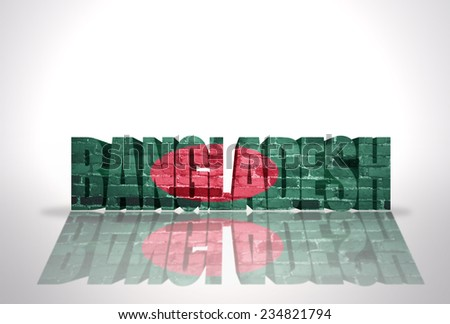 Word Bangladesh with National Flag on the white background - stock photo