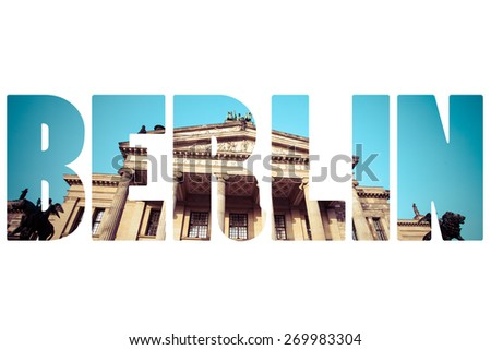 Word BERLIN overtraditional architecture. - stock photo
