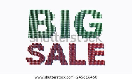 word BIG SALE made from green and red cars - stock photo