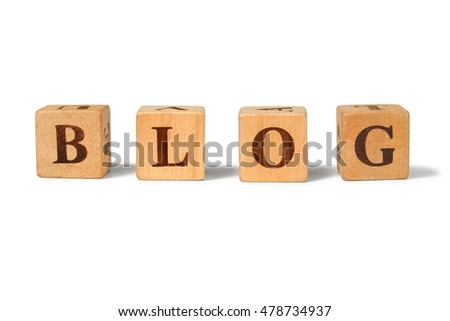 Word BLOG made from wooden letter blocks