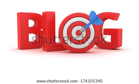 Word Blog with small dartboard on white background