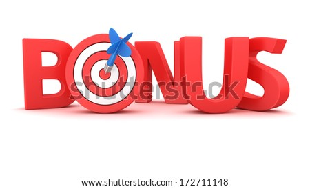 Word Bonus with small dartboard on white background - stock photo