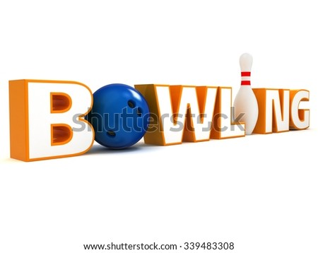 Word Bowling. The stylized word Bowling with a ball instead of a letter O and pin instead of I. - stock photo
