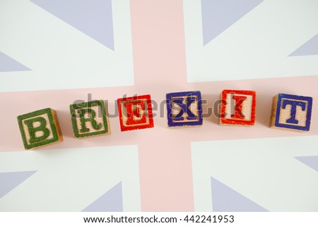 word BREXIT on Flag of the United Kingdom of Great Britain.