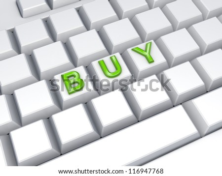 Word BUY on keyboard.3d rendered. - stock photo