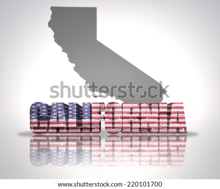 Word California with National Flag of USA near map State - stock photo