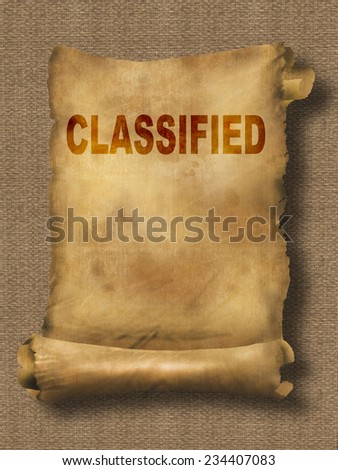 word classified on paper scroll made in 2d software