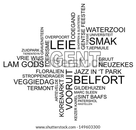 word cloud around ghent, city in belgium, flanders, dutch and flemish version