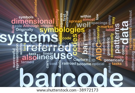 Word cloud concept illustration of barcode bar code glowing light effect
