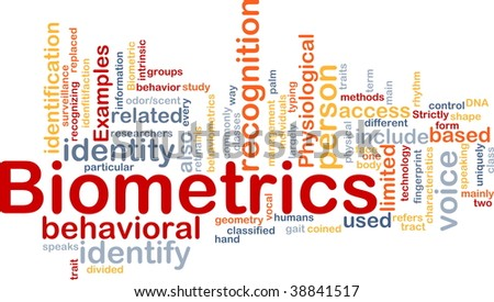 Word cloud concept illustration of biometrics recognition
