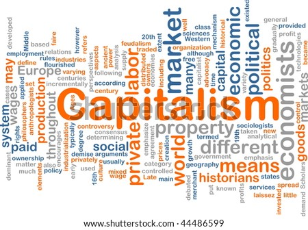 Word cloud concept illustration of capitalism economy