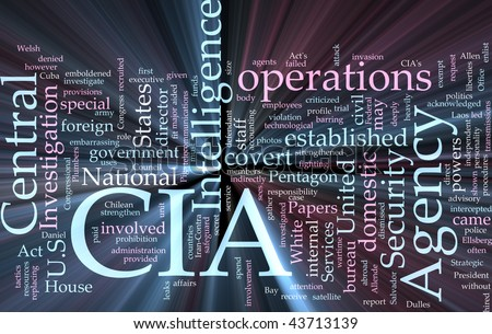 Word cloud concept illustration of  CIA Central Intelligence Agency glowing light effect
