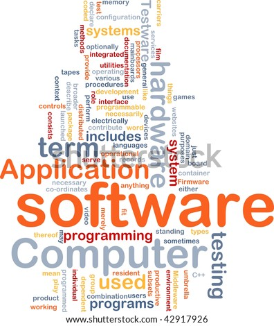 Word cloud concept illustration of computer software - stock photo