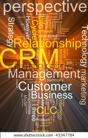 Word cloud concept illustration of CRM Customer Relationship Management glowing light effect - stock photo