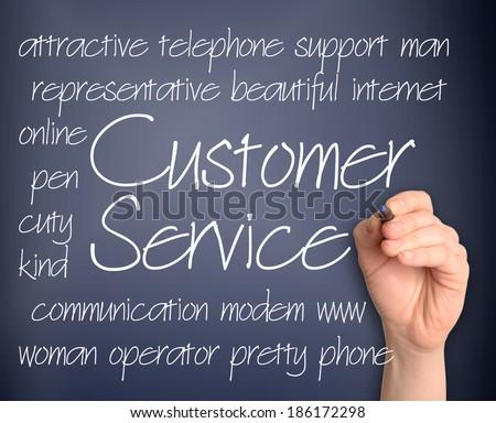 Word cloud concept illustration of customer service handwritten on blackboard - stock photo