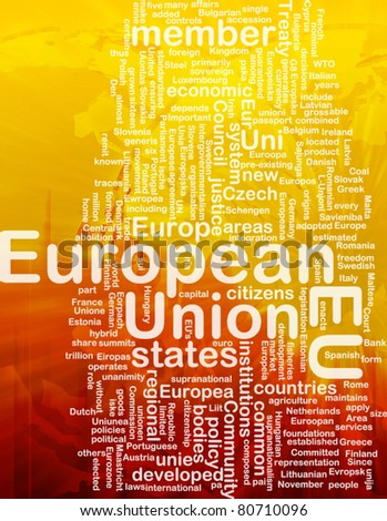Word cloud concept illustration of EU European Union international