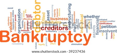 Word cloud concept illustration of financial bankruptcy