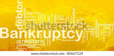 Word cloud concept illustration of financial bankruptcy international - stock photo