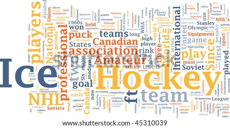 Word cloud concept illustration of ice hockey
