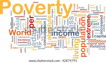 Word cloud concept illustration of income poverty - stock photo