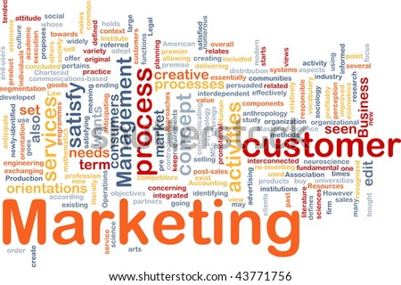 Word cloud concept illustration of marketing process - stock photo