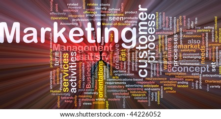 Word cloud concept illustration of marketing process glowing light effect - stock photo